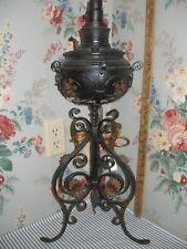 Ornate 1890 Bradley & Hubbard Iron & Brass Banquet Parlor Lamp Victorian Antique