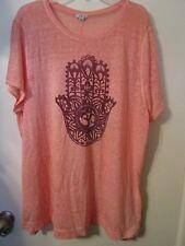 Lucky Lotus Women's Gorgeous Coral T-Shirt W/Henna Om Symbol Hand Size 3X EUC!