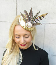 Gold Brown Pheasant Statement Feather Fascinator Pillbox Races Hat Ascot 2294