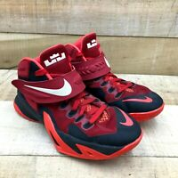 Nike Boys Red Blue Zoom Lebron Soldier Basketball Athletic Shoes Size 6.5 Y