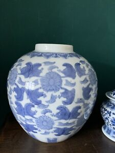 Very Large CHINESE BLUE & White GINGER JAR, NO COVER