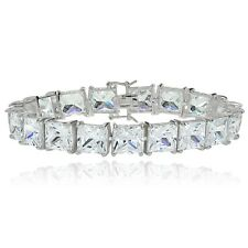 Sterling Silver Princess-cut Cubic Zirconia 8x8mm Tennis Bracelet