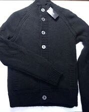 NWT Hugo Boss $335 Mens Deliberatoo Wool/Acrylic Button Black Cardigan Sweater L