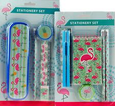 More details for flamingo 12 piece school stationery set, pencil case, pens, pencils