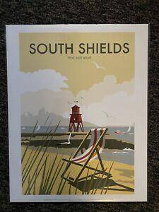 Retro Contemporary Travel Poster Print South Shields 14x11 New