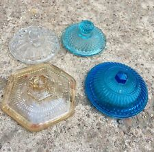 1940s VINTAGE GLASS CARNIVAL 4 Pc. POT'S LID-CAN BE USED AS PAPER WEIGHT-AWESOME