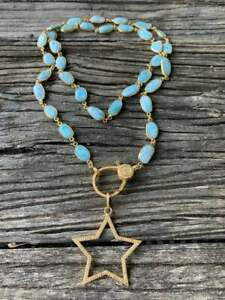 Larimar Necklace Pave Diamond Lobster Claw Clasp Open Star Pendant Jewelry SA
