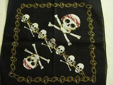 SKULLS CROSSBONES  PIRATES AND CHAINS  PRINT BANDANA IN RED WHITE  GOLD BLACK