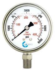 25 Liquid Filled Pressure Gauge 0 6000 Psi Stainless Steel Case Lower Mount