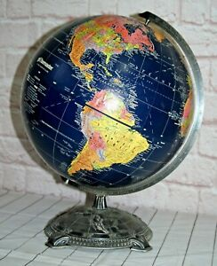 Vintage Globemaster 12 Inch Globe w Decorative Metal Base Dark Blue Water Nice