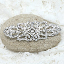 Vintage Sash Belt Long Silver Tone Diamante Rhinestone Crystal Brooch Pin
