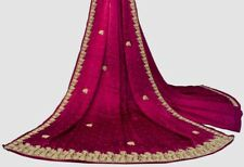 Heavy Vintage Dupatta Indian Long Stole Hand Beaded Zardozi Scarves Magenta Veil