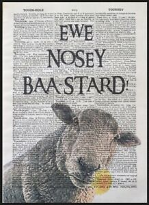 Sheep Pun Quote Vintage Dictionary Page Wall Art Print Picture Funny Animal