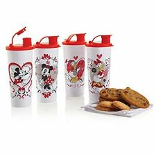 New TUPPERWARE Disney Valentines 16oz Tumblers Set (4) w/ Flip Top Seals