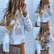 Womens Letter Print Button Shirt Long Sleeve OL Office Work Pullover Blouse Tops