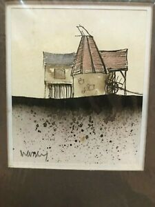"""Art Original Barn and Silo Etching Ink Watercolor Matted R.A. Massey 3.5x3"""""""