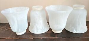 Set of 4 Westinghouse Ceiling Fan Replacement Globes Shades Marble Bell Flared