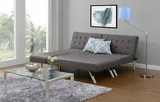Sofa Sectional Sleeper GRAY Chaise Lounge Linen Bed Convertible Futon Couch Dorm