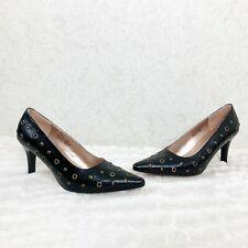 Pamela McCoy Black Leather Studded Heels Size 7 1/2