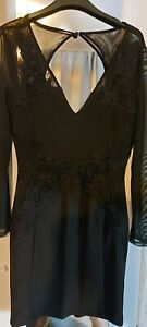 Lipsy Womens Black Lacey Long Sleeved Dress Size 12