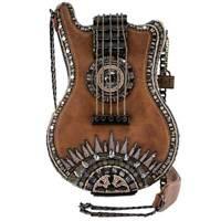 Mary Frances Open Mic Music Bag Brown Guitar Strings Beaded Bag Handbag NEW