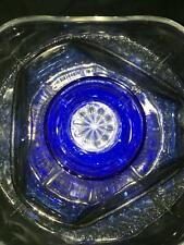 Repurposed cut glass suncatcher flower garden yard art colbalt blue silver tint