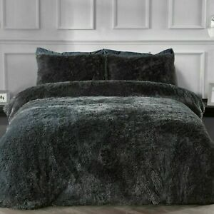 Sleepdown Shaggy fur King Size Duvet Set.. Charcoal