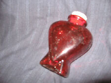 RED HEART SHAPED GLASS JAR BOTTLE WITH CORK IDEAL FOR FUNDRAISER OR PARTY GIFT