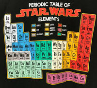Vintage Star Wars Disney T-Shirt Periodic Table of Star Wars Elements Black 2XL