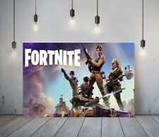 FORTNITE 1 -DEEP FRAMED CANVAS GAME WALL ART PICTURE PAPER PRINT- BLUE BROWN
