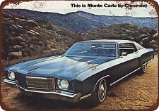 1970 Chevrolet Monte Carlo reproduction metal Sign 8 x 12
