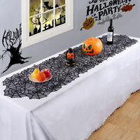 Halloween Black Lace Spider Web Table Runner Tablecloth Party Dinner Home DecorE