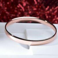 18K 18CT ROSE GOLD FILLED SLIP ON SOLID BANGLE LADY WOMENS BRACELET 8MM