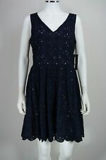 Women's Karl Lagerfeld size 10 Blue Fit & Flare Floral Lace Tea Dress NEW NWT