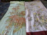 SOIE§2longues écharpes ,jaune et rose parme =bandeaux cheveux ???????