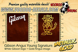 Gibson Angus Young (White logo + Gold Angus) waterslide decals
