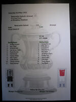 1952 FA Cup Final Newcastle United v Arsenal matchsheet