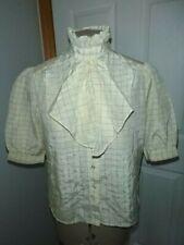 Vtg 70's Bel Canto High Ruffle Collar Ascot Short Puff Sleeve Blouse Sz Small