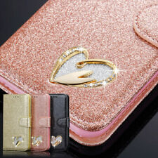 Leather Bling Glitter Heart Sign Wallet Book Case Cover For  Huawei P smart 2020