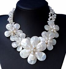 """18""""  natural pearl shell flowers necklace Wedding Woman Jewelry"""