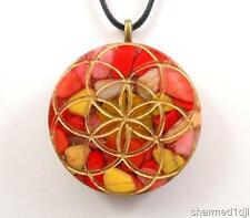 Orgone Energy Pendant Necklace Sacred Geometry Seed of Life Red Coral Jasper