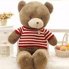 Gift Cotton Cute Stuffed Plush Teddy Bear Red stripes dress Huge Soft Dolls 60cm