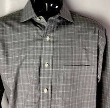 Brooks Brothers 346 Dress Casual Shirt Gray Check Plaid Sz 16 1/2/35 Cotton
