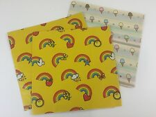 Vintage Wrapping Paper Lot Rainbow Ice Cream '80's LGBTQ Gay Pride Retro 3pc C5
