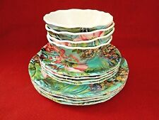 222 Fifth Hummingbird Floral Set of 12 MELAMINE Outdoor Dishes New