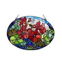"Stained Glass Chloe Lighting Flowers Window Panel  CH1P514GF24-GPN 24 X 18"" New"
