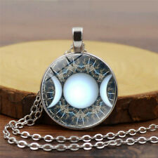 Triple Moon Goddess Necklace Wiccan Jewelry Glass Dome Moon Goddess Charm Chain