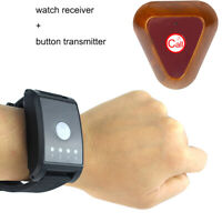 4CH Wireless Watch Call Receiver Pager Button Transmitter Vibrate/ Buzzer 433MHz