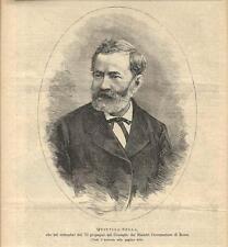 Stampa antica QUINTINO SELLA ritratto in ovale 1895 Old antique print