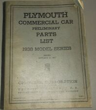 1938 Plymouth Commercial Car Truck PT 57 Parts List Preliminary